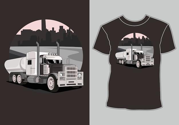 T-shirt großer lkw in der stadt Premium Vektoren