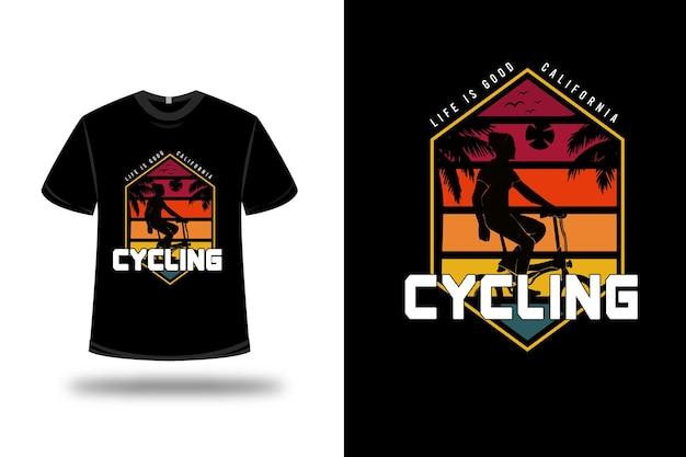 T-shirt leben ist gut kalifornien radfahren farbe rot orange und grün Premium Vektoren