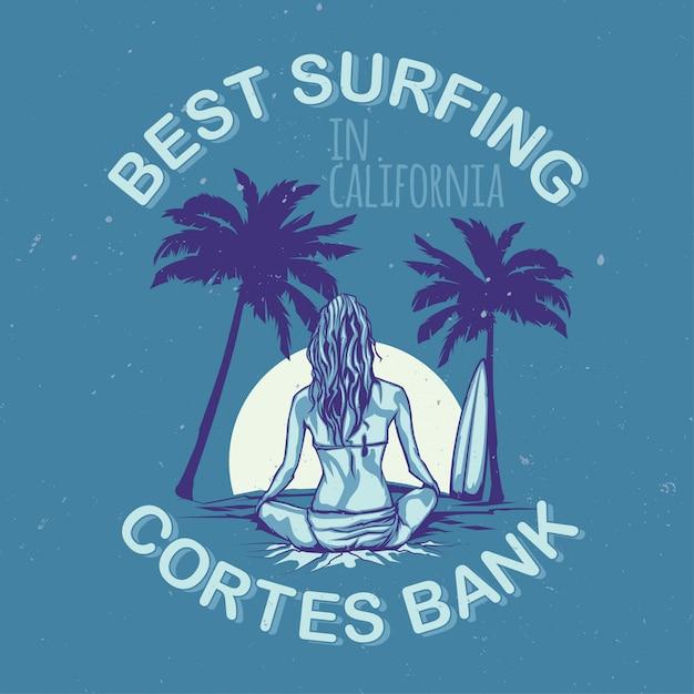 T-shirt oder plakatentwurf mit abbildung des mädchens mit surfbrett Kostenlosen Vektoren