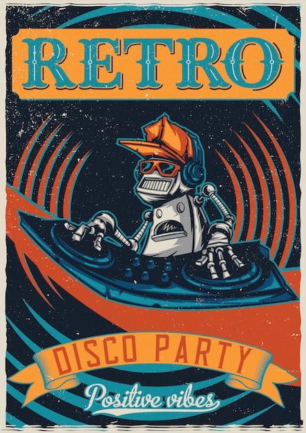 T-shirt oder plakatentwurf mit abbildung des roboter-discjockeys Kostenlosen Vektoren
