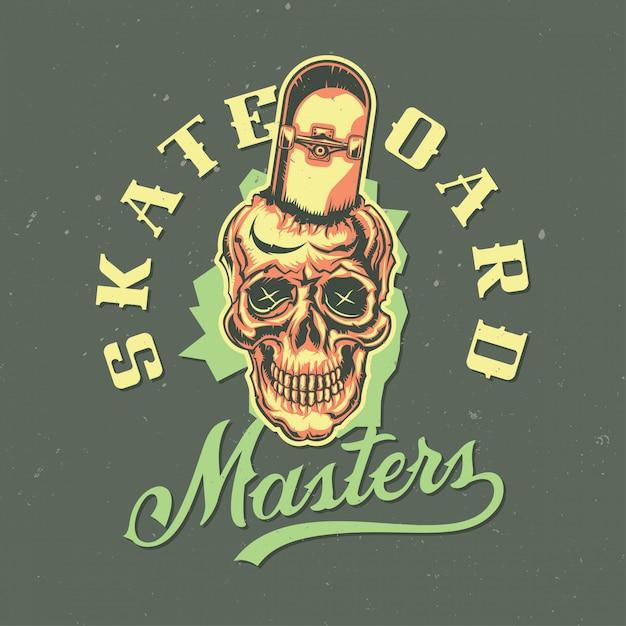 T-shirt oder plakatentwurf mit abbildung des schädels mit skateboard Kostenlosen Vektoren