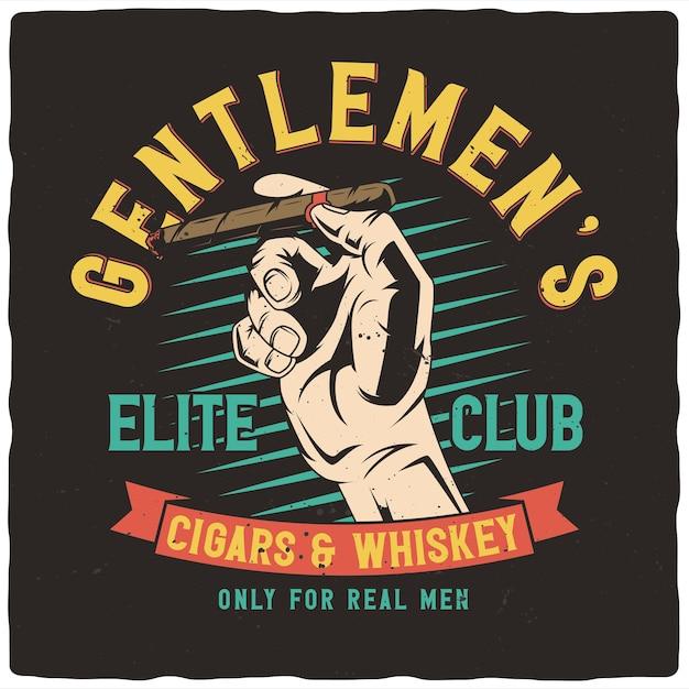 T-shirt oder plakatentwurf mit illustration der hand mit zigarre Premium Vektoren