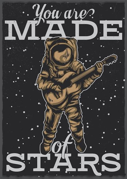 T-shirt oder plakatentwurf mit illustration des astronauten mit gitarre Kostenlosen Vektoren
