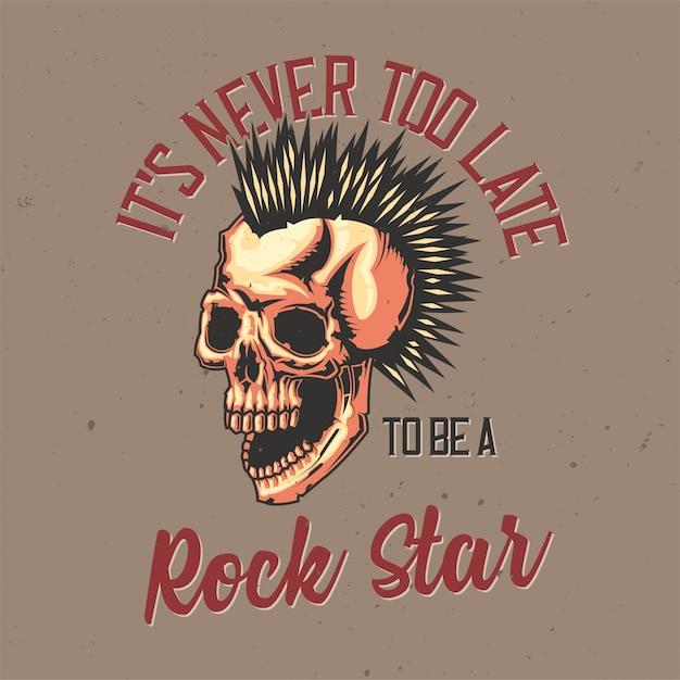 T-shirt oder plakatentwurf mit illustration des punkschädels. Kostenlosen Vektoren