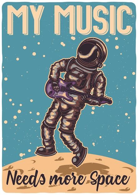 T-shirt oder plakatentwurf mit illustration eines astronauten mit einer gitarre auf dem mond. Kostenlosen Vektoren