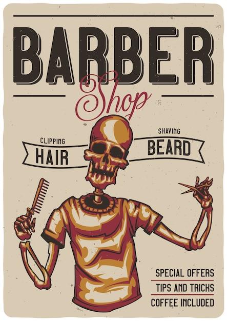T-shirt oder plakatentwurf mit illustration eines friseursalons mit skelett. Kostenlosen Vektoren