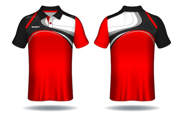 T-shirt polo-design, sport-jersey-vorlage. Premium Vektoren