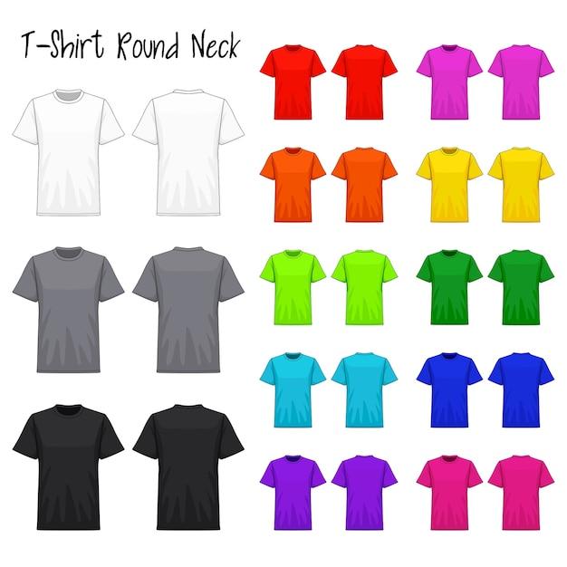 T-shirt rundhals farbkollektionsset Premium Vektoren