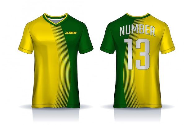T-shirt sport entwurfsvorlage, fußball trikot für fußballverein. einheitliche vorder- und rückansicht. Premium Vektoren