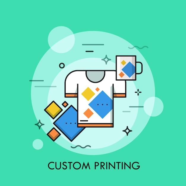 T-shirt und tasse mit gleichem aufdruck. Premium Vektoren