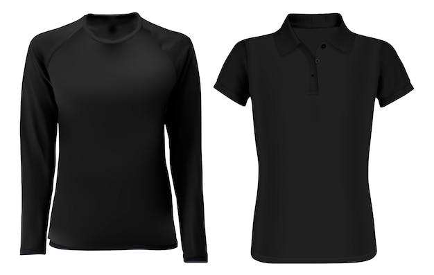 T-shirt-vorlage. leere front des schwarzen kleides Premium Vektoren