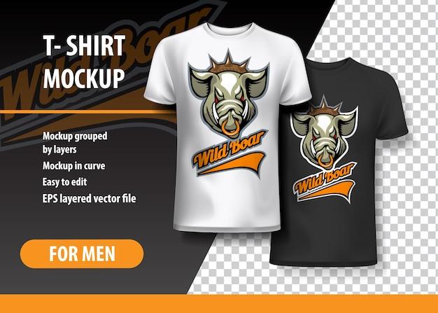 T-shirt vorlage, voll editierbar mit wild boar team logo. Premium Vektoren