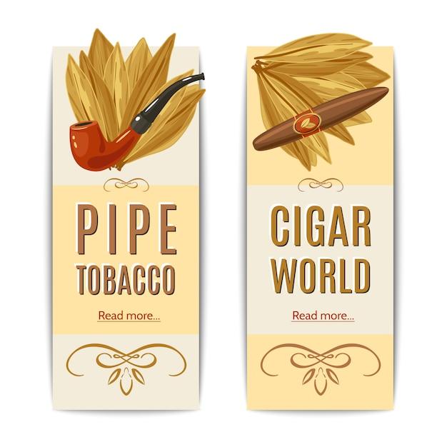 Tabak-banner eingestellt Kostenlosen Vektoren