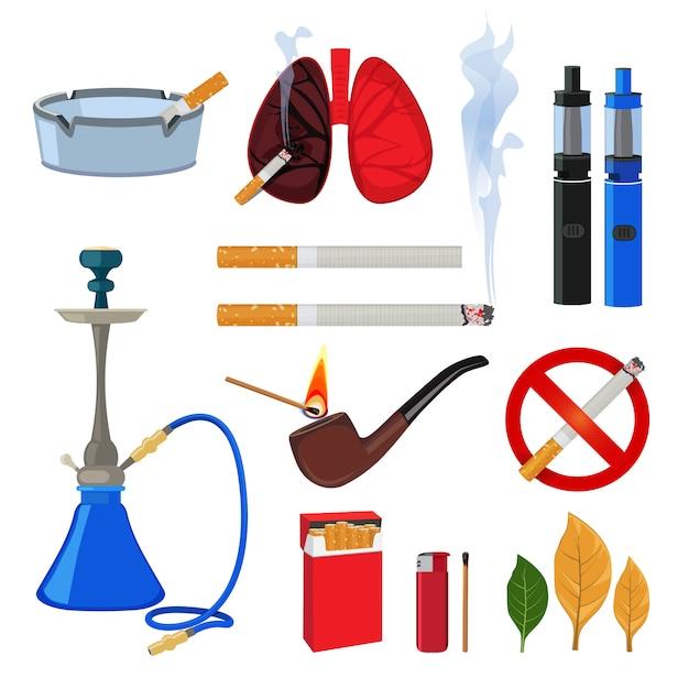 Tabak, zigarette und verschiedenes zubehör für raucher. rauchgewohnheit, feuerzeug und zubehör, viper und zigarette. vektor-illustration Premium Vektoren