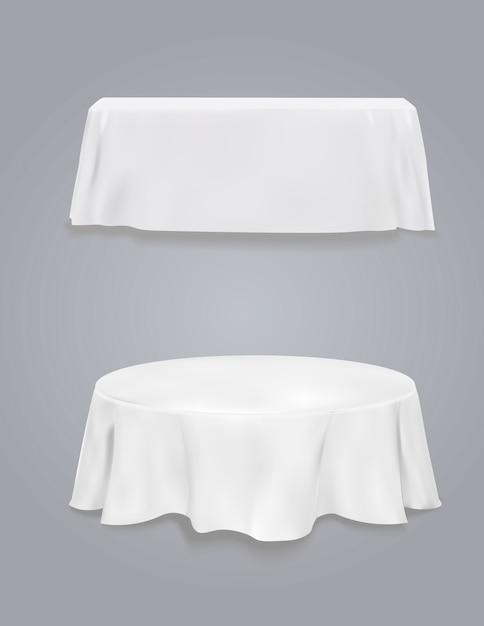 Tabelle mit tischdecke auf einem grauen hintergrund. Premium Vektoren