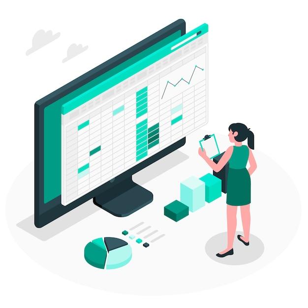 Tabellenkalkulationskonzeptillustration Kostenlosen Vektoren