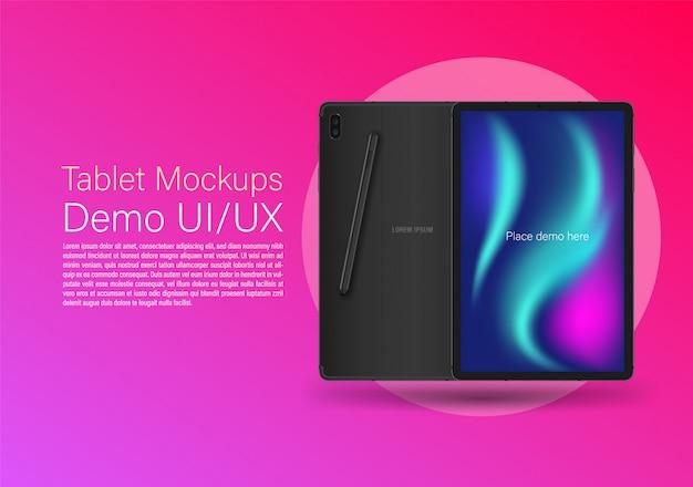 Tablet hinten vorne und stift auf hintergrund rosa farbe. Premium Vektoren