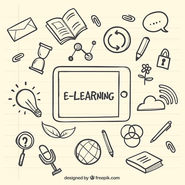 Tablet hintergrund mit handgezeichneten lern artikel Kostenlosen Vektoren