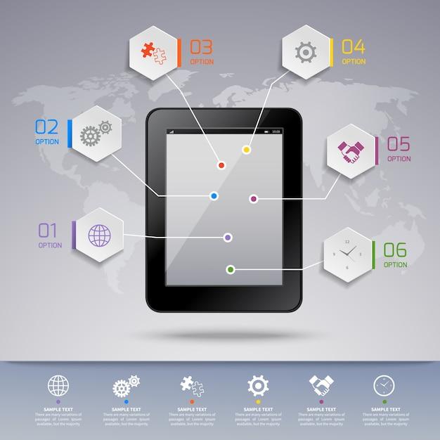 Tablet infografik vorlage Kostenlosen Vektoren