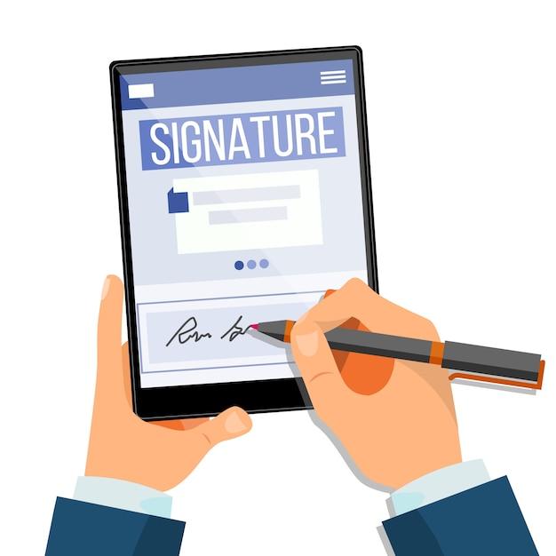 Tablet mit elektronischer signatur Premium Vektoren