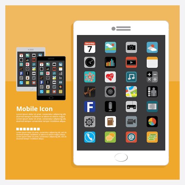 Tablet mit ikonen-design-satz-vektor-illustration Premium Vektoren