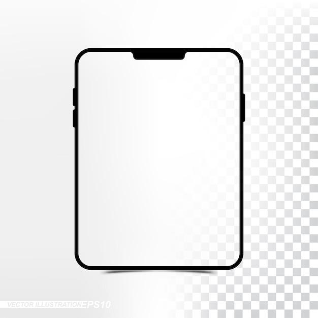 Tablet neue version des modells mit transparentem schirm und hintergrund Premium Vektoren