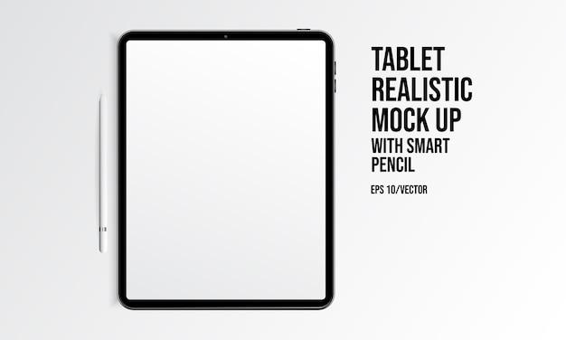 Tablet-realistischer spott oben mit intelligentem bleistift Premium Vektoren