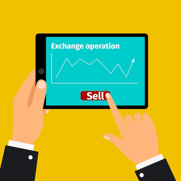 Tablette mit börsengrafik Premium Vektoren