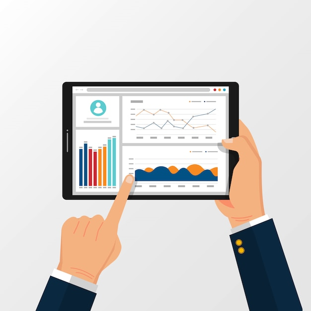Tablette mit statistischen diagrammen zur planung und abrechnung auf handillustration. Premium Vektoren
