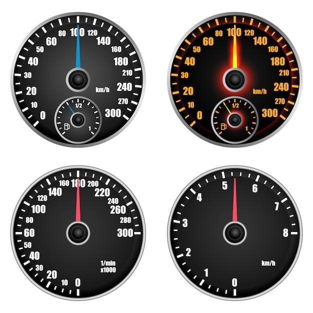 Tachometer-füllstandsanzeige eingestellt Premium Vektoren