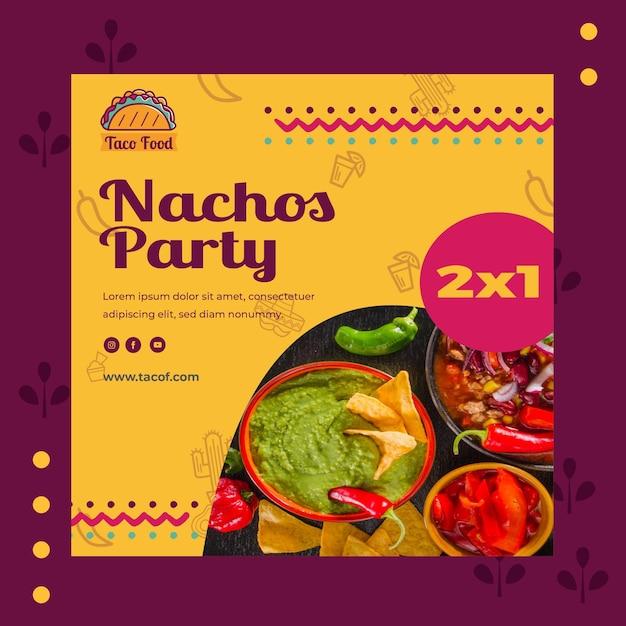 Taco food restaurant quadratische flyer vorlage Kostenlosen Vektoren