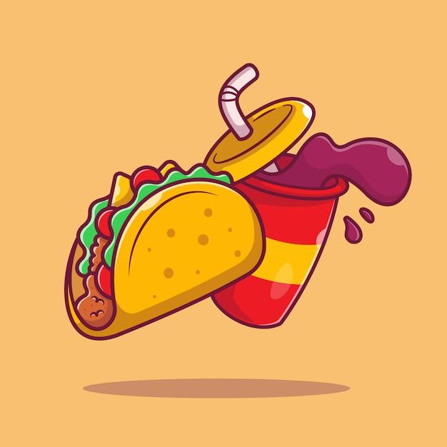 Taco mit soda cartoon icon illustration. mexiko-nahrungsmittel-symbol-konzept isoliert. flacher cartoon-stil Premium Vektoren