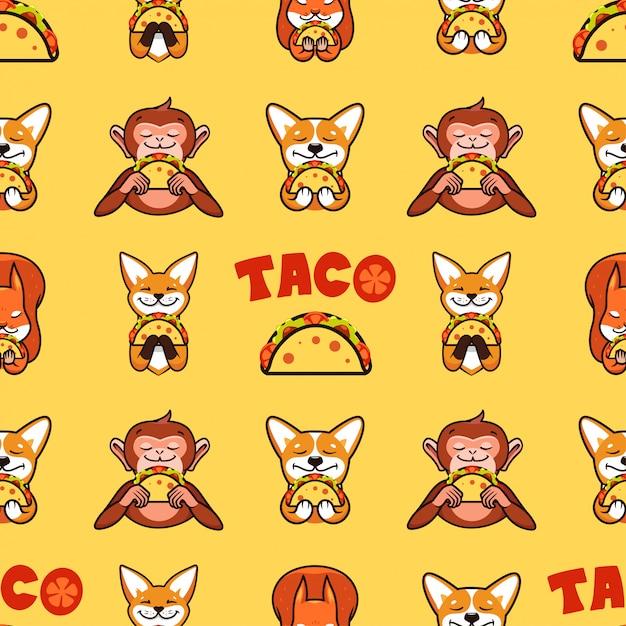 Taco nahtloses muster, textur, druck, oberfläche mit text. mexikanische nahrung Premium Vektoren