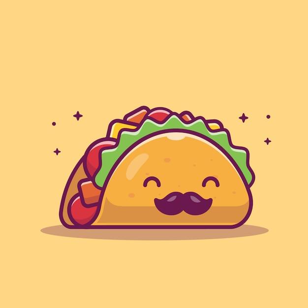 Taco schnurrbart maskottchen cartoon illustration. netter taco charakter. lebensmittelkonzept isoliert Premium Vektoren