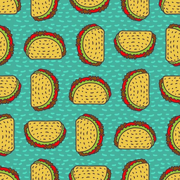 Taco-zeichnungshintergrund. mexikanisches fast-food-muster. Premium Vektoren