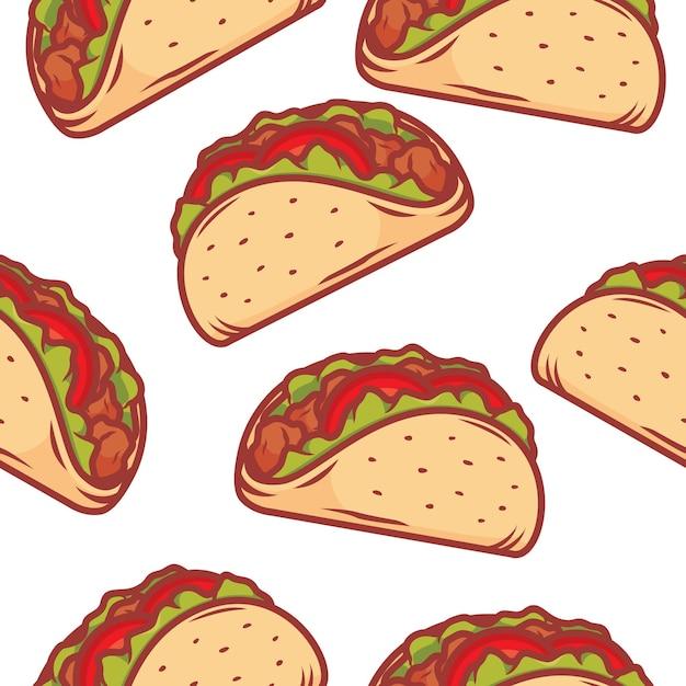 Tacos musterhintergrund Premium Vektoren