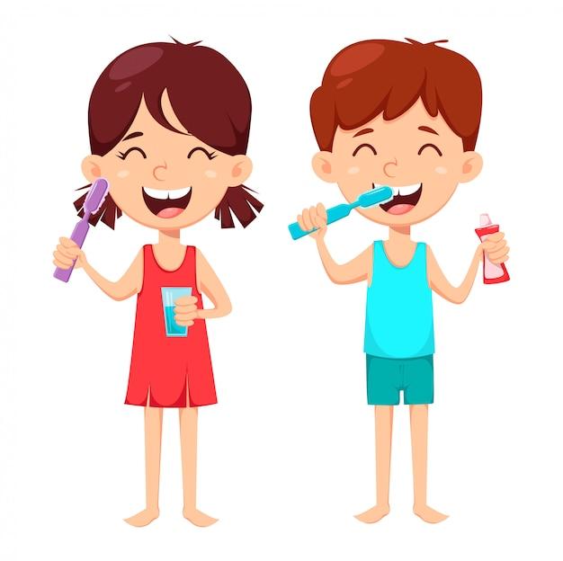 Tägliche zahnhygiene. junge und mädchen, die zähne putzen Premium Vektoren