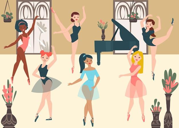 Tänzer-ballerinas, moderne klassische tanzkarikaturillustration der schule. Premium Vektoren