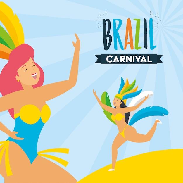 Tänzer brasilien karneval Kostenlosen Vektoren