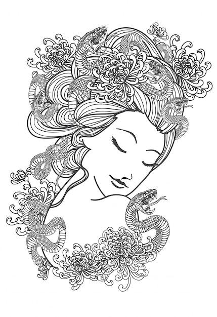 Tätowieren sie kunstfrauen und schlangenblumenhandzeichnung und die schwarzweiss skizze Premium Vektoren