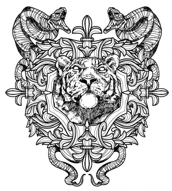 Tätowierungskunst-löwehandzeichnung schwarzweiss Premium Vektoren