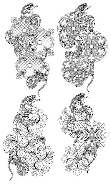 Tätowierungskunst schlangenhandzeichnung und -skizze schwarzweiss mit linie kunstillustration Premium Vektoren