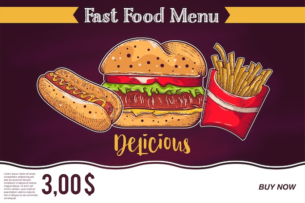 Tafel fast food ads - hamburger, pommes frites und hotdog. Premium Vektoren