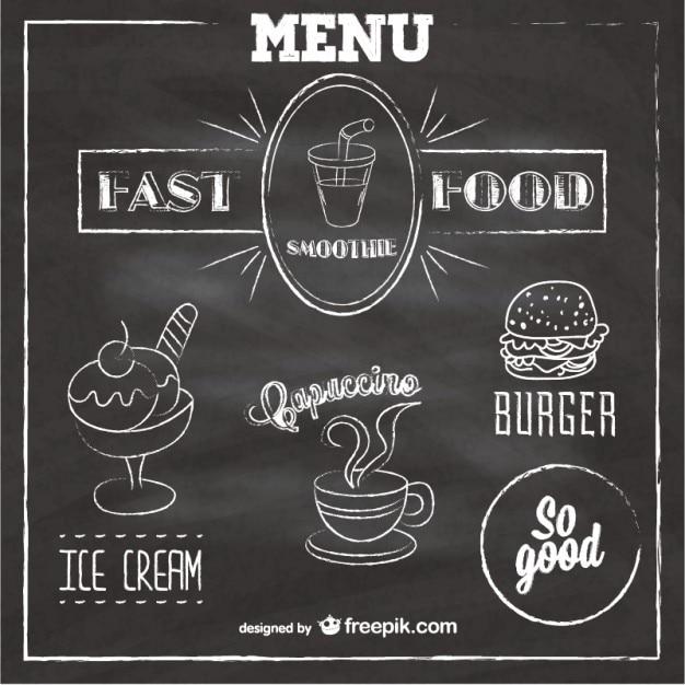 Tafel fast-food-menü Kostenlosen Vektoren
