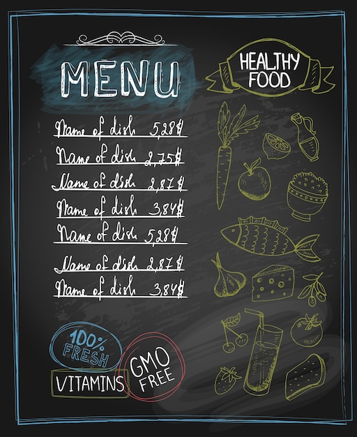 Tafel gesunde speisekarte mit platz für text. vektorillustration Kostenlosen Vektoren