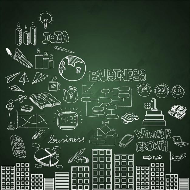 Tafel hintergrund mit gebäuden und geschäftseinzelteile Premium Vektoren