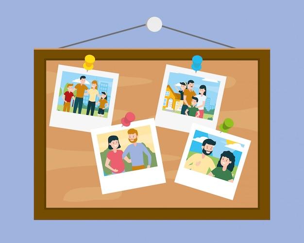 Tafel mit fotos am familientag Kostenlosen Vektoren