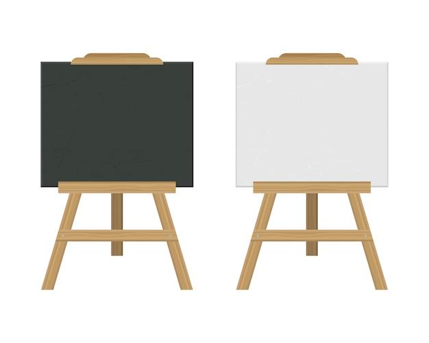Tafel staffelei illustration lokalisiert auf weißem hintergrund Premium Vektoren