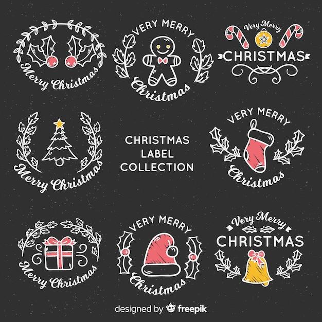 Tafel weihnachts-label-kollektion Kostenlosen Vektoren
