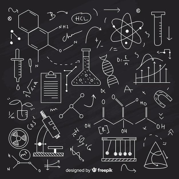 Tafelhintergrund mit chemieinformationen Kostenlosen Vektoren